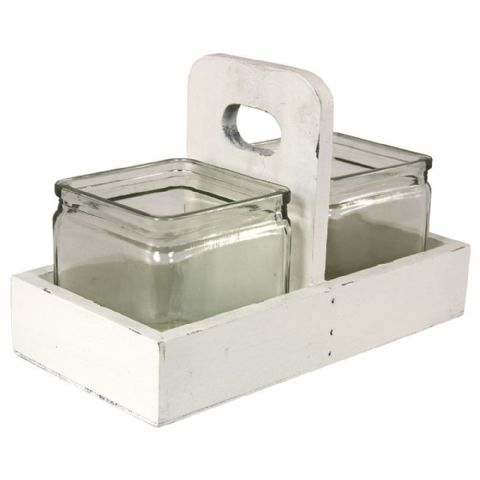 Square Sauce & Chutney Condiments Pots in Holder Set
